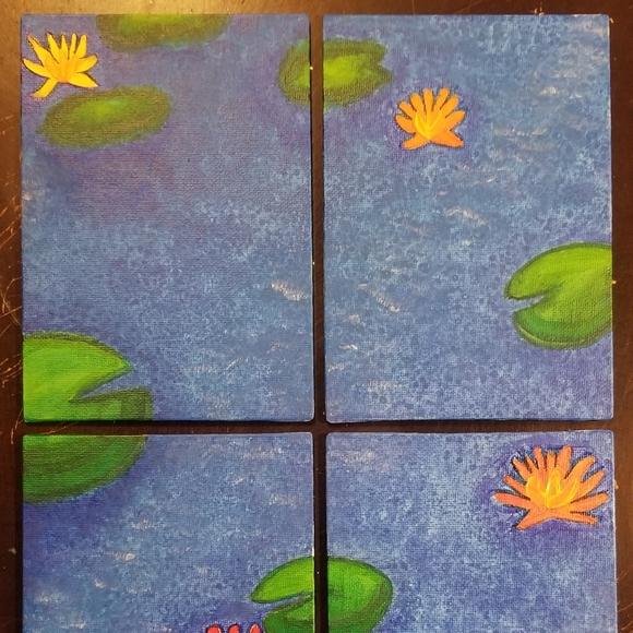 My art. 4 piece lily pond painting
